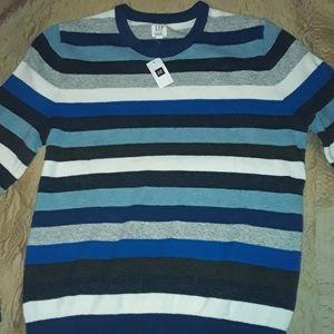 GAP NWT L blue&white striped crew neck sweater